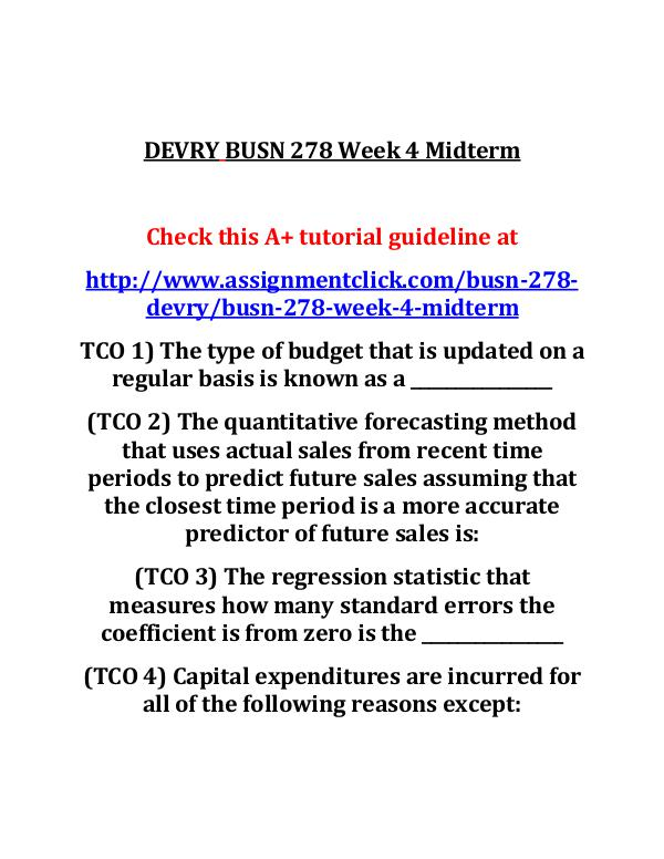 DEVRY BUSN 278 Week 4 Midterm