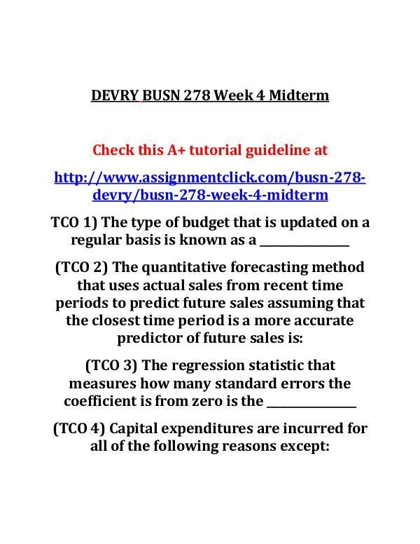 DEVRY BUSN 278 Entire Course DEVRY BUSN 278 Week 4 Midterm