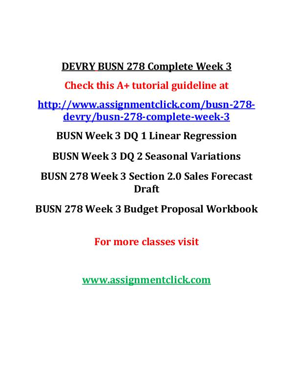 DEVRY BUSN 278 Entire Course DEVRY BUSN 278 Complete Week 3