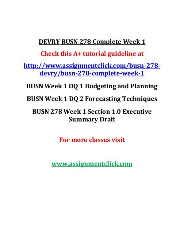 DEVRY BUSN 278 Complete Week 1