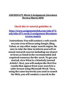 ASH EDU 671 Entire Course