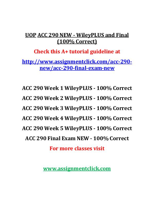 UOP ACC 290 NEW Entire Course UOP  ACC 290 NEW