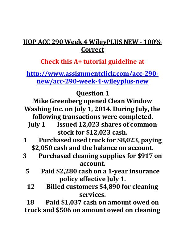 acc 290 week 4 wileyplus assignment Acc 290 entire course link    acc 290 week 5 assignment wileyplus assignment.
