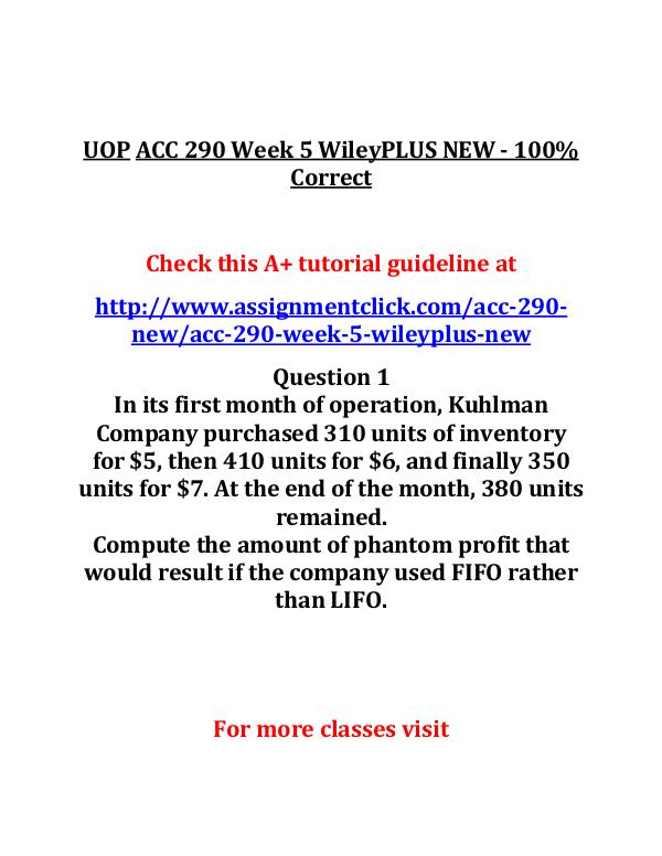 UOP ACC 290 NEW Entire Course UOPACC 290 Week 5 WileyPLUS