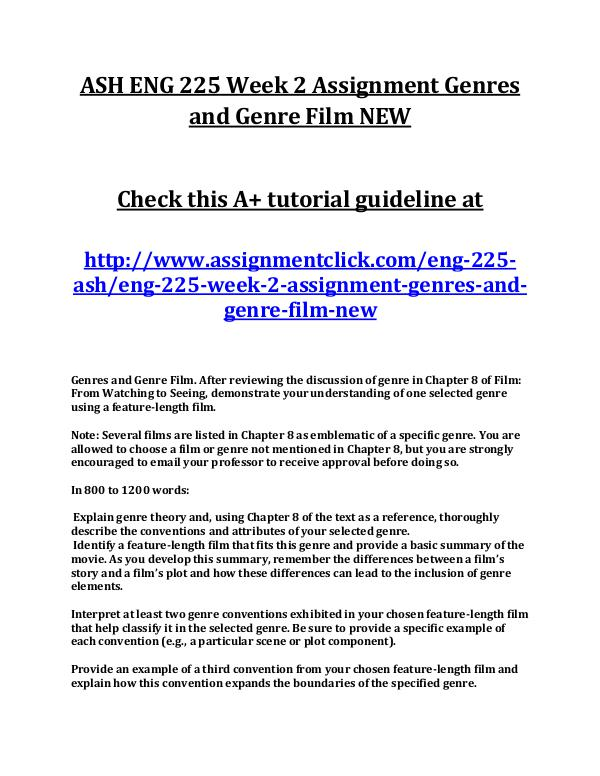 ASH ENG 225 Week 2 Assignment Genres and Genre Fil