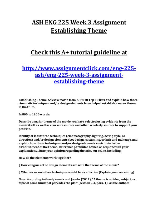 ASH ENG 225 Entire Course NEW ASH ENG 225 Week 3 Assignment Establishing Theme
