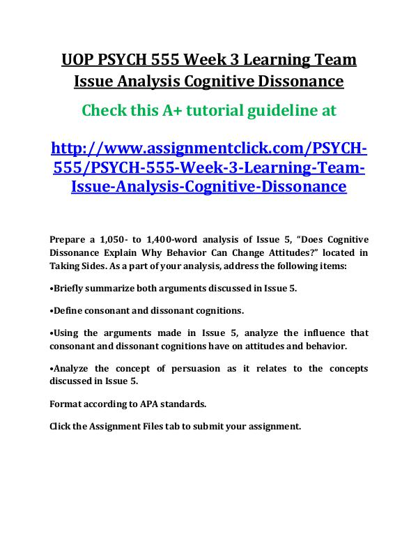 UOP PSYCH 555 Entire Course UOP PSYCH 555 Week 3 Learning Team Issue Analysis