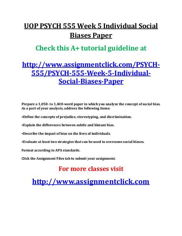 UOP PSYCH 555 Week 5 Individual Social Biases Pape