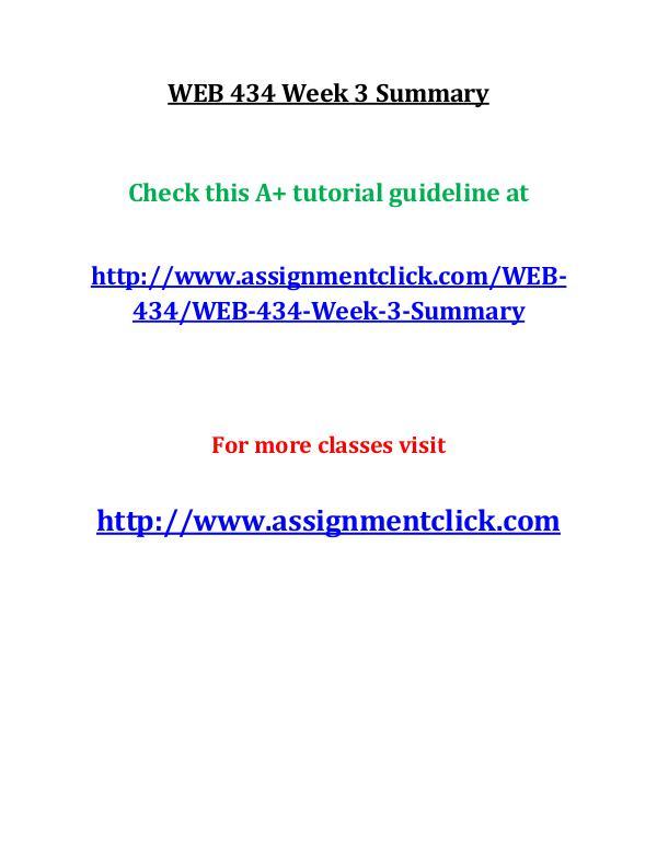 uop web 434 entire course UOP WEB 434 Week 3 Summary