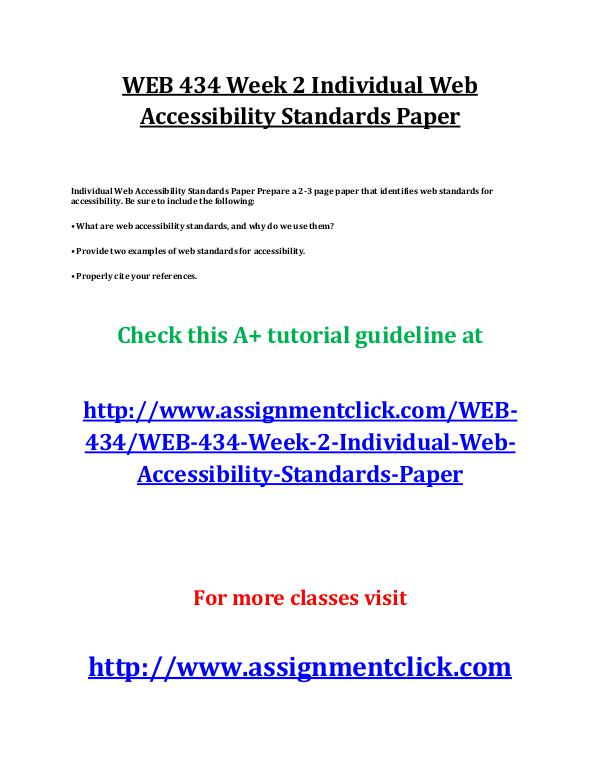 uop web 434 entire course UOP WEB 434 Week 2 Individual Web Accessibility St