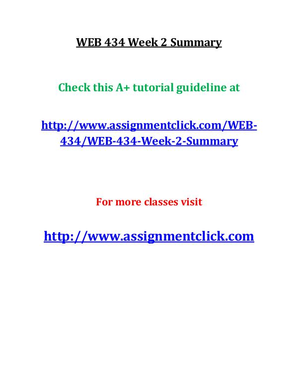 uop web 434 entire course UOP WEB 434 Week 2 Summary