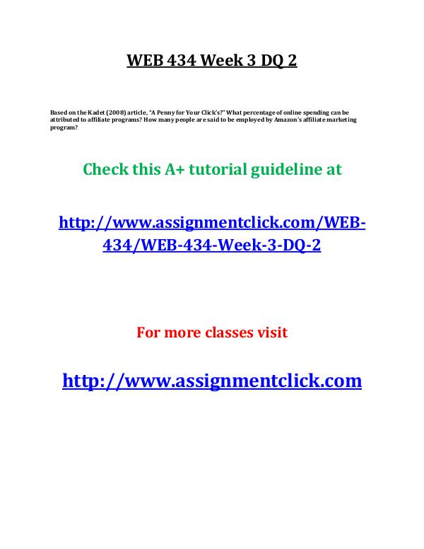 uop web 434 entire course UOP WEB 434 Week 3 DQ 2