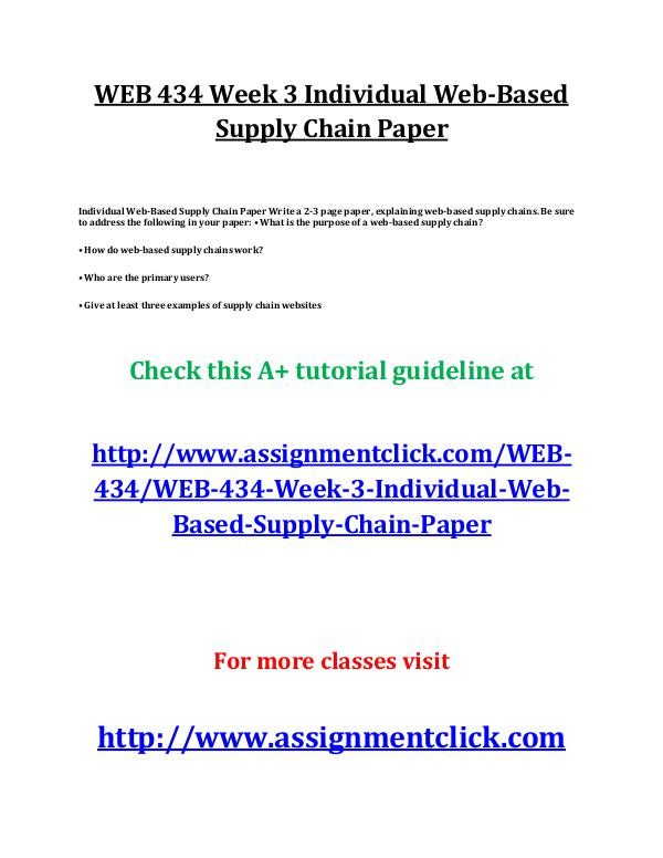 uop web 434 entire course UOP WEB 434 Week 3 Individual Web-Based Supply Cha
