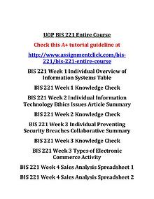 UOP BIS 221 Entire CourseUOP BIS 221 Entire Course