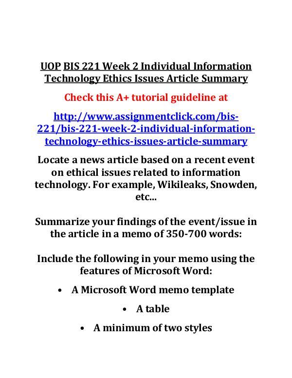 UOP BIS 221 Entire CourseUOP BIS 221 Entire Course UOP BIS 221 Week 2 Individual Information Technolo