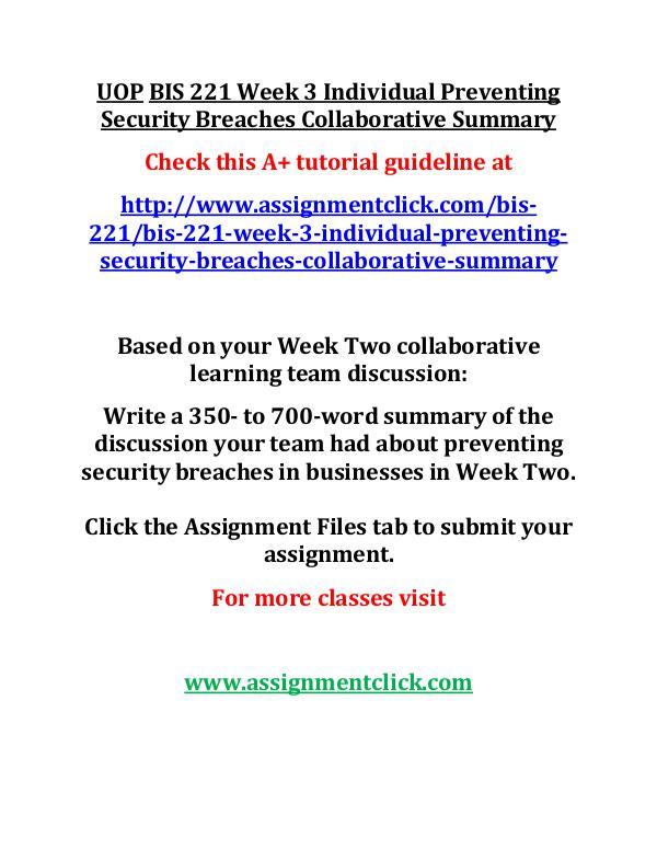 UOP BIS 221 Entire CourseUOP BIS 221 Entire Course UOP BIS 221 Week 3 Individual Preventing Security