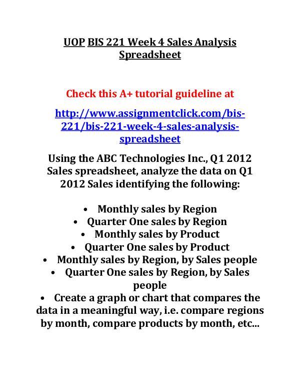 UOP BIS 221 Entire CourseUOP BIS 221 Entire Course UOP BIS 221 Week 4 Sales Analysis Spreadsheet