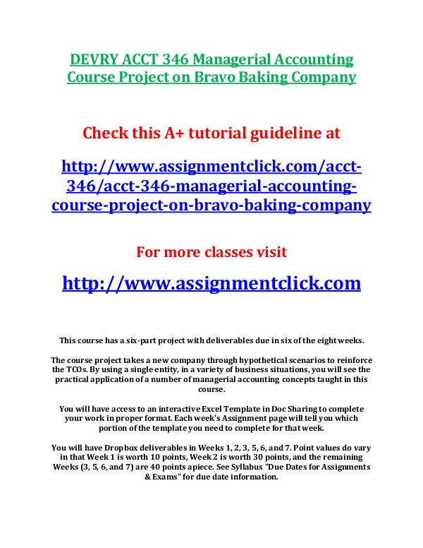 DEVRY ACCT 346 Managerial Accounting Course Projec