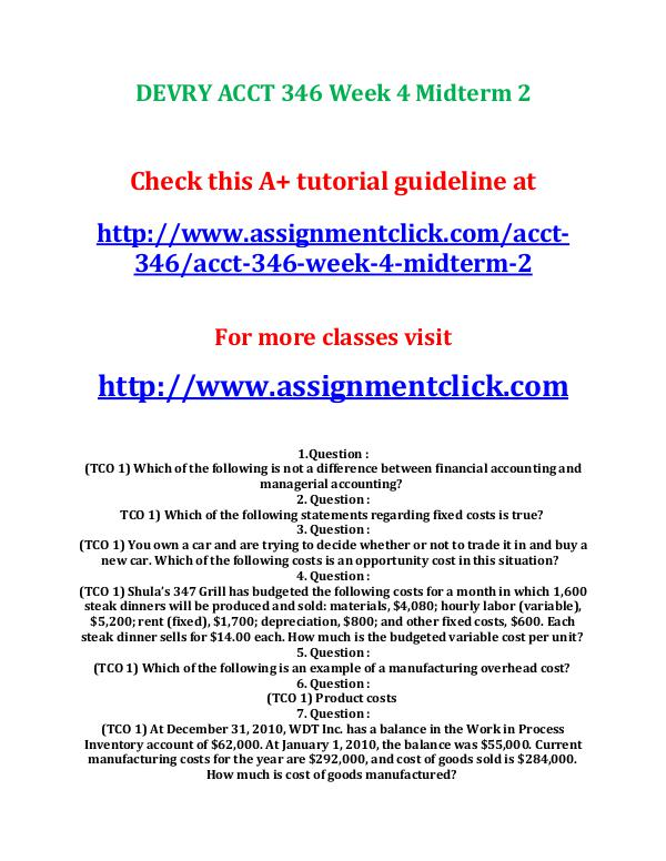 DEVRY ACCT 346 Managerial Accounting Course Project on Bravo Baking C DEVRY ACCT 346 Week 4 Midterm 2