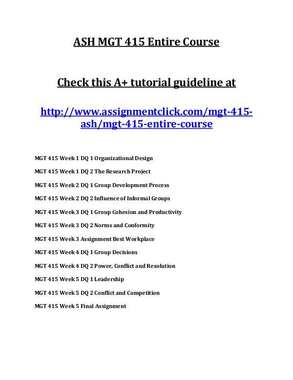 ASH MGT 415 Entire Course ASH MGT 415 Entire Course