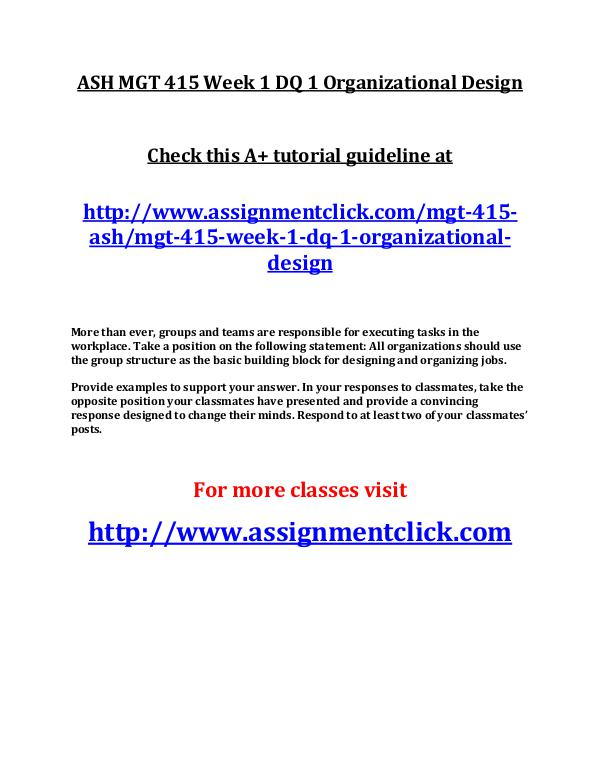 ASH MGT 415 Week 1 DQ 1 Organizational Design