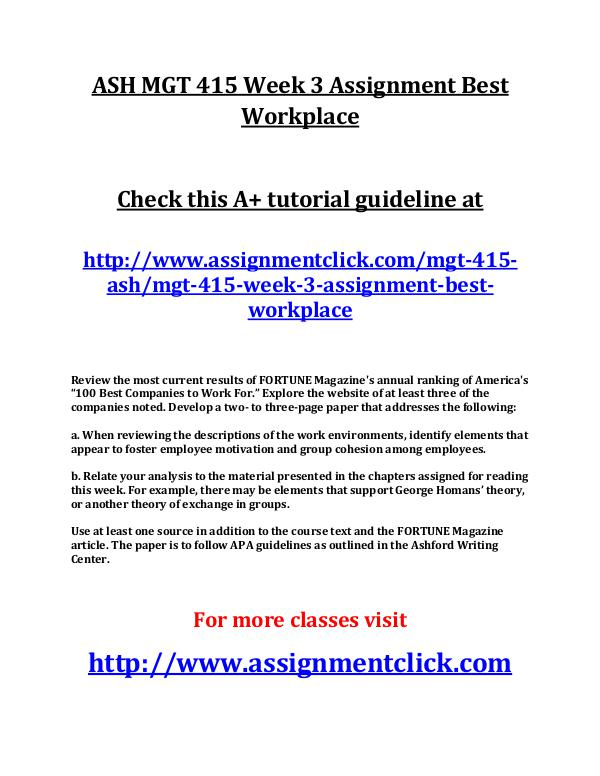 ASH MGT 415 Week 3 Assignment Best Workplace