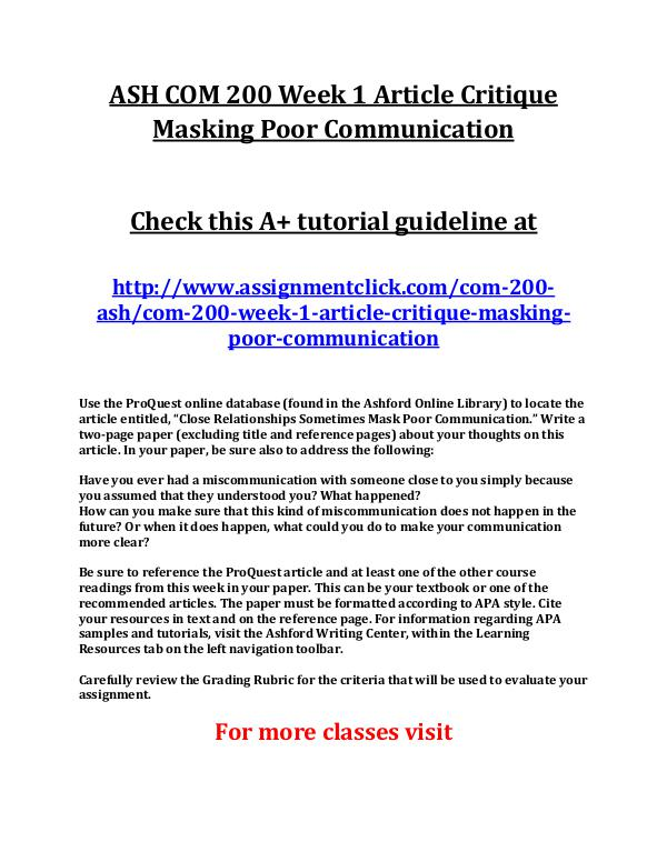 article critique masking poor communication Article critique 2 masking poor communication as someone who has been in a loving relationship with my wife for most of my adult life, i was surprised at the findings discussed in the article close relationships sometimes mask poor communication.