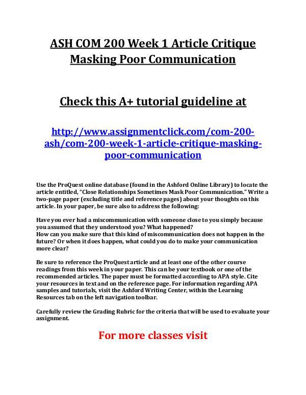 ASH COM 200 Entire Course ASH COM 200 Week 1 Article Critique Masking Poor C