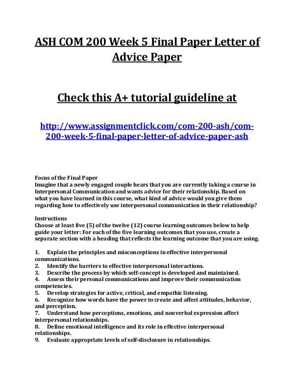 Ash Com  Entire Course Ash Com  Week  Final Paper Letter Of