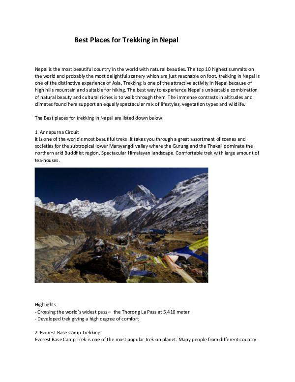 Best Places for Trekking in Nepal Best Places for Trekking in Nepal