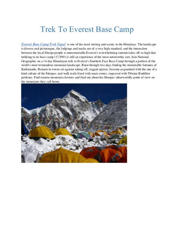 Trek To Everest Base Camp Trek To Everest Base Camp
