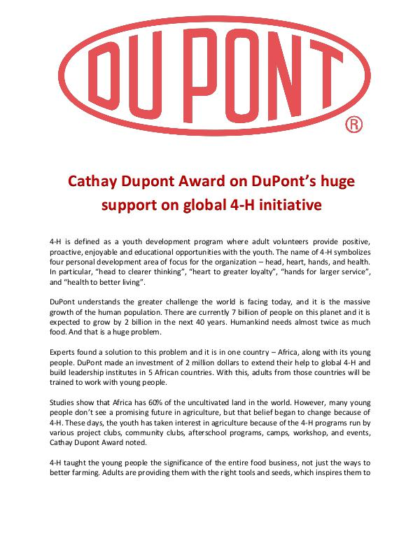 Cathay Dupont Award on DuPont's huge support on global 4-H initiative Cathay Dupont Award on DuPont's huge support on gl