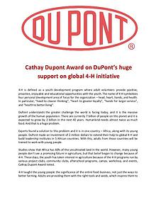 Cathay Dupont Award on DuPont's huge support on global 4-H initiative