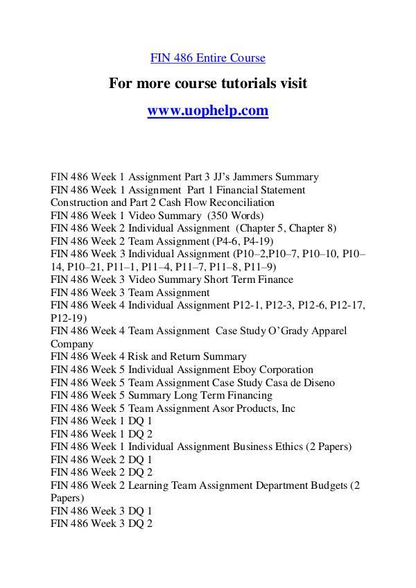 FIN 486 Expect Success/uophelp.com FIN 486 Expect Success/uophelp.com