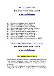 HCS 212 Expect Success/uophelp.com