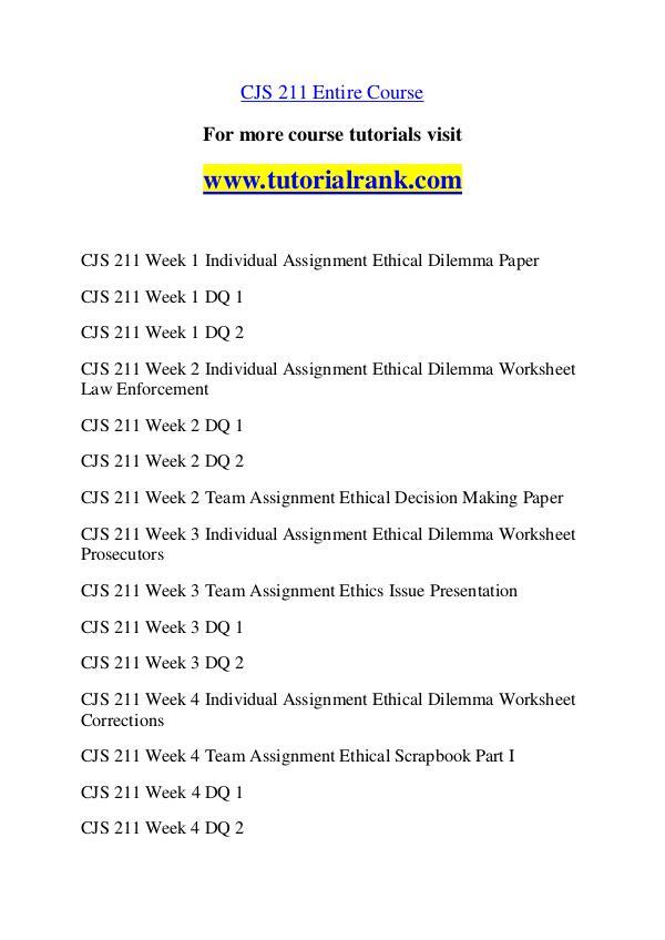 CJS 211 Course Great Wisdom / tutorialrank.com CJS 211 Course Great Wisdom / tutorialrank.com