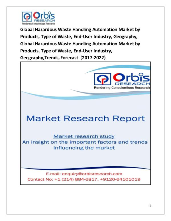 Research Report: Global Hazardous Waste Handling Automation Market