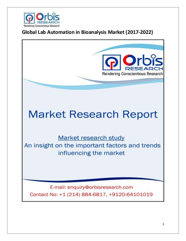 Research Report: Global Lab Automation in Bioanalysis Market