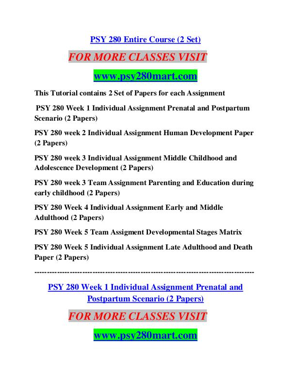 psy280 week 1 Psy 280 week 3 team assignment parenting and education during early childhood/ uoptutorial for more course tutorials visit wwwuoptutorialcom psy 280 week 1 individual assignment prenatal and.