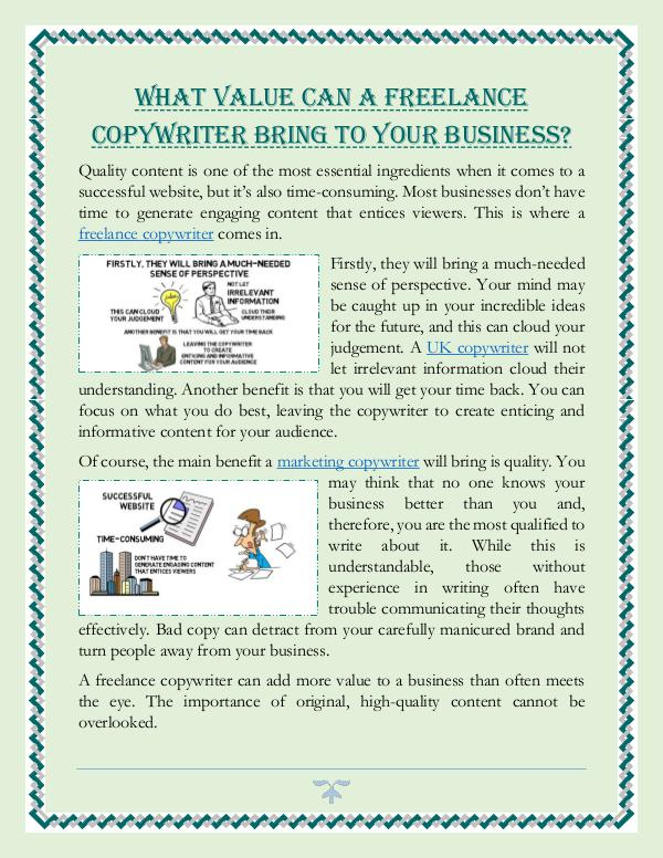 What Value Can A Freelance Copywriter Bring To Your Business? What Value Can A Freelance Copywriter Bring To You