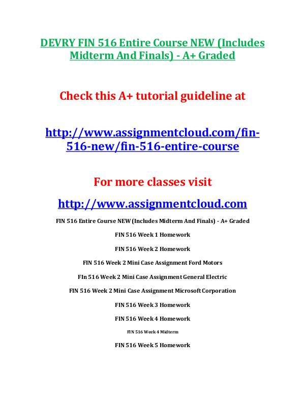 FIN 516 DevryDEVRY FIN 516 Entire Course NEW (Includes Midterm And Fi DEVRY FIN 516 Entire Course NEW (Includes Midterm