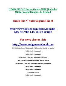 FIN 516 DevryDEVRY FIN 516 Entire Course NEW (Includes Midterm And Fi