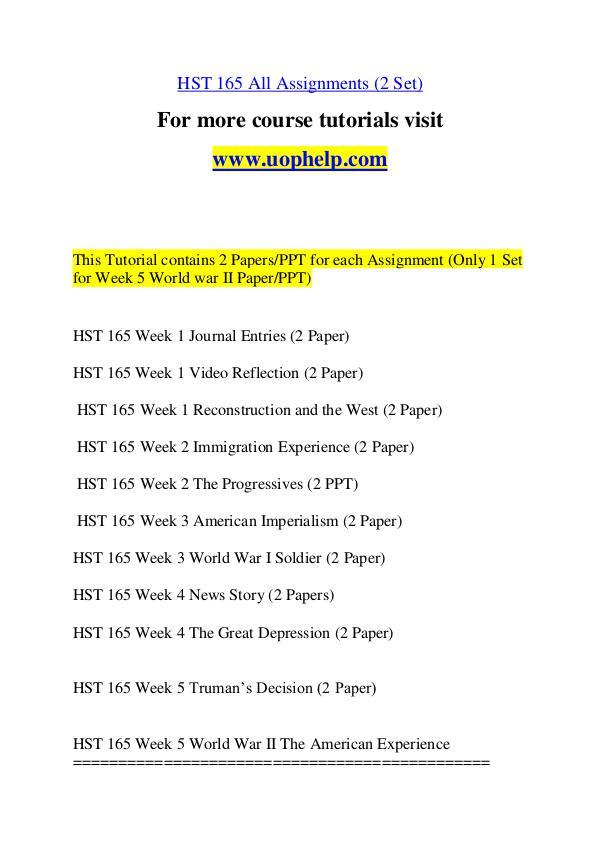 HST 165 Expect Success/uophelp.com HST 165 Expect Success/uophelp.com