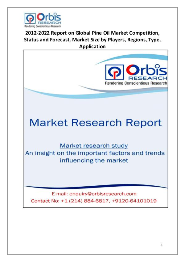 Global Pine Oil Market Overview Global Pine Oil Market Analysis