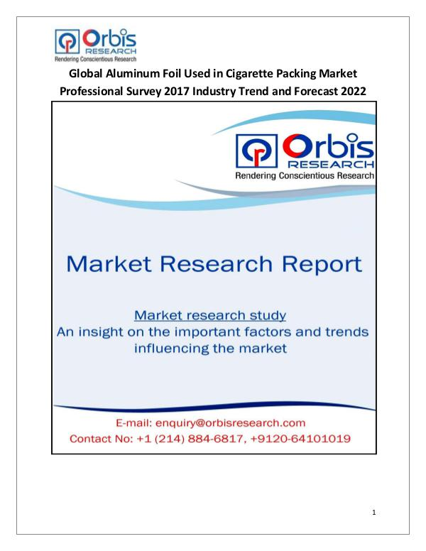 Latest Chemical Industrial Reports Aluminum Foil Used in Cigarette Packing Market