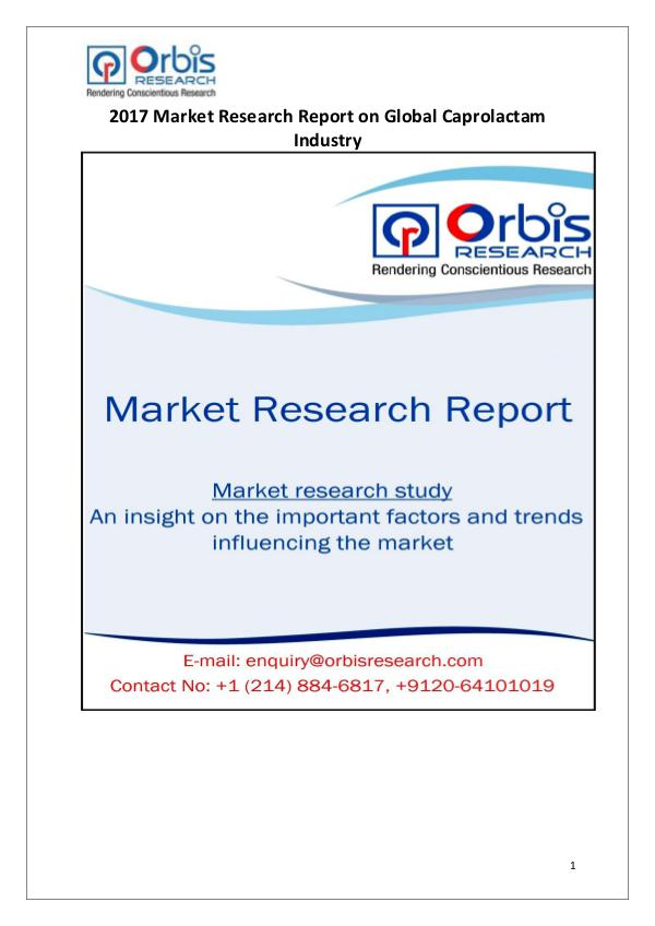 Global Caprolactam Industry Latest Report by Orbis Research Orbis Research: 2017 Global Caprolactam Market