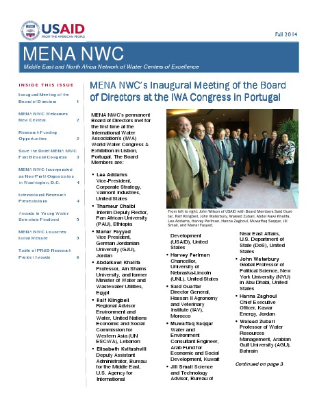 MENA NWC Update Fall 2014