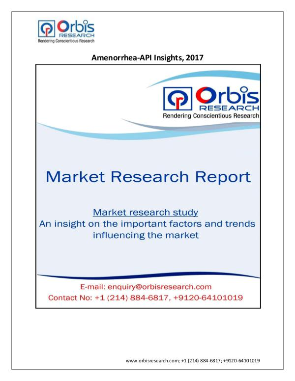 Pharmaceuticals and Healthcare Market Research Report Research -Amenorrhea-API Insights and Pipeline Ana