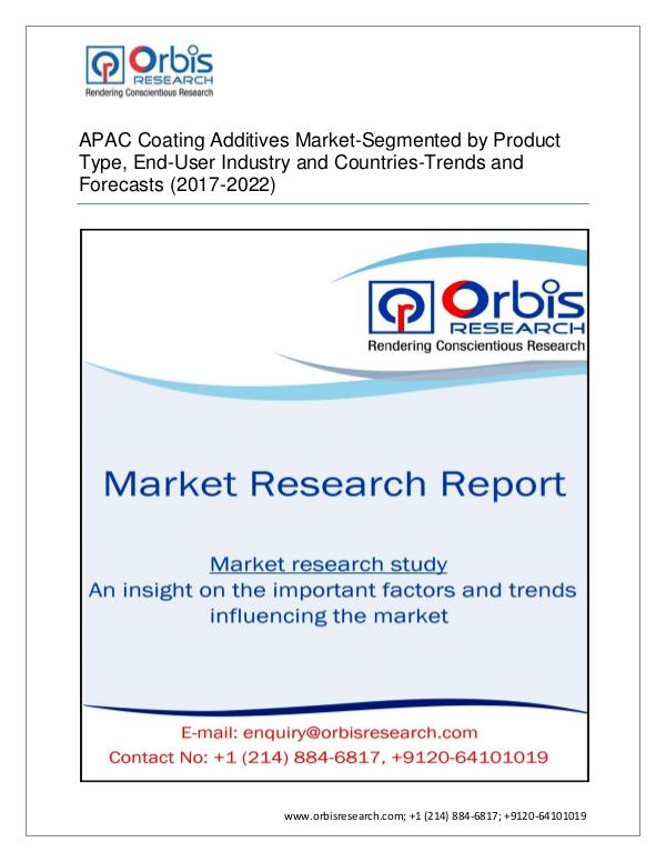 Chemical and Materials Market Research Report Orbis Research Adds a New Report APAC Coating Addi