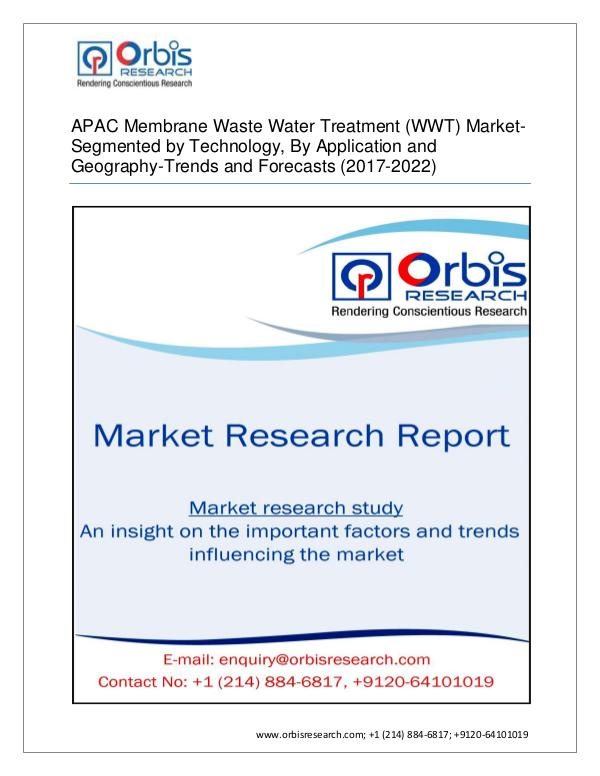 Chemical and Materials Market Research Report APAC Membrane Waste Water Treatment Market by Appl